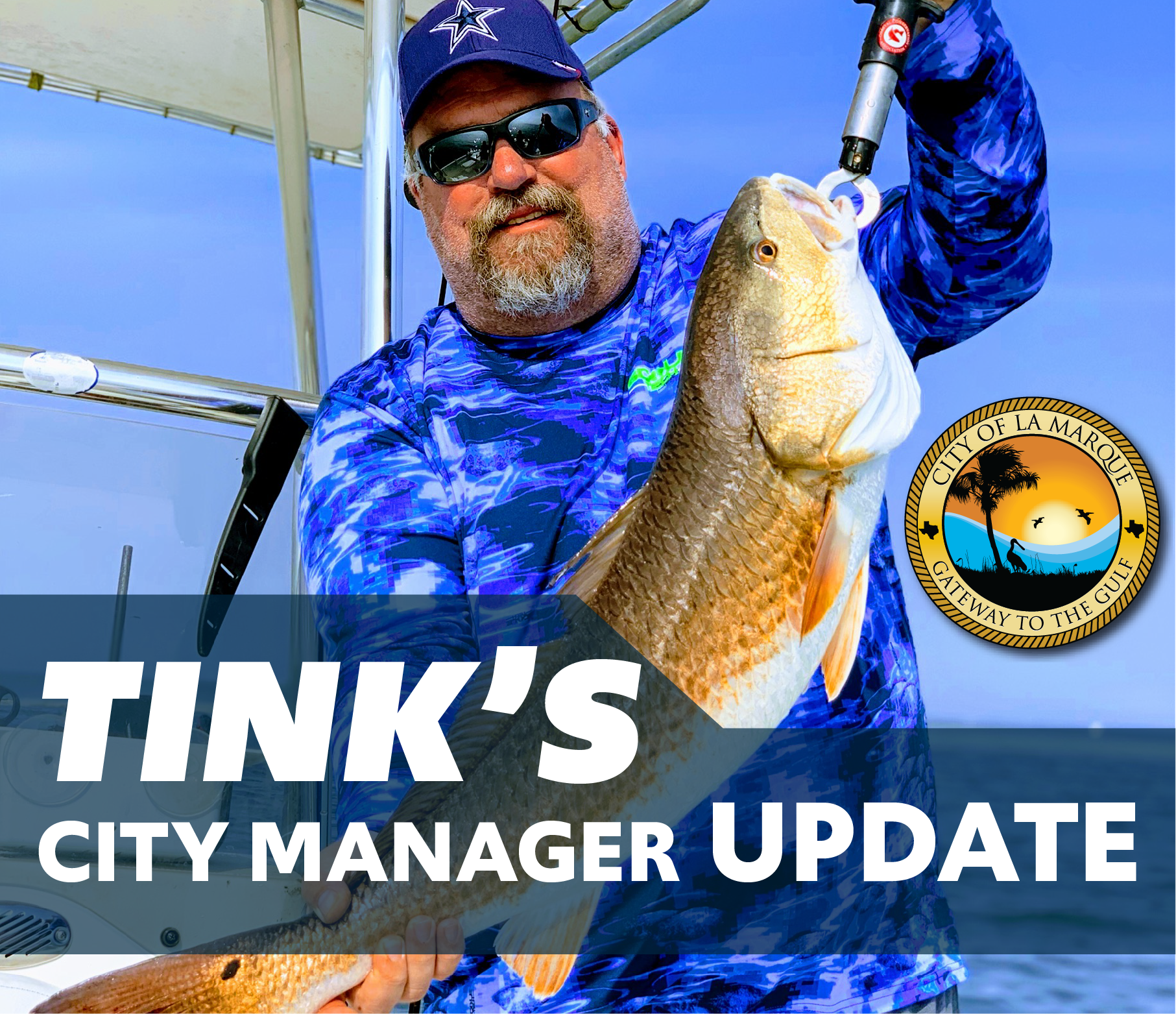 Tinks CM Update graphic shows Mr. Jackson holding a large red fish on a boat.